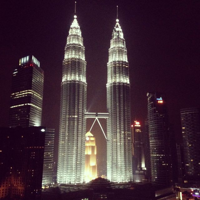 Twin Towers at night.